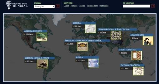 Biblioteca Digital Mundial: tela de abertura.