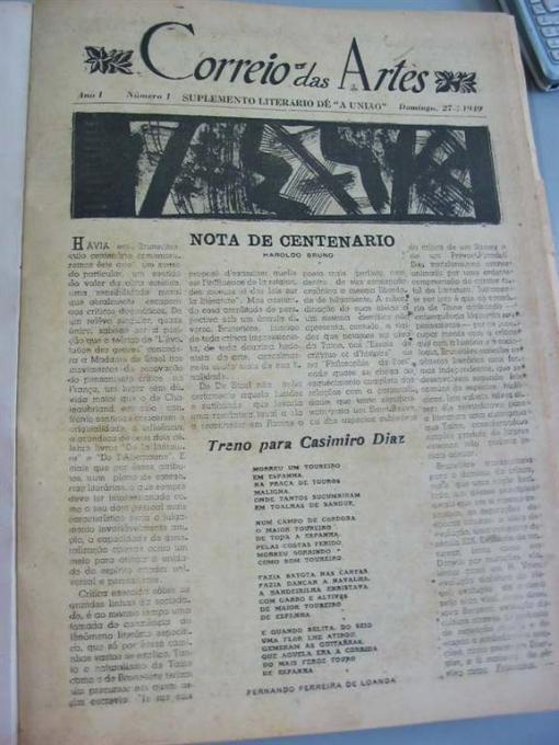 Página do número 1 do Correio das Artes, suplemento literário d'A União-PB, que em 27 de março deste ano completou 60 anos de circulação ininterrupta. É o mais antigo de Brasil.