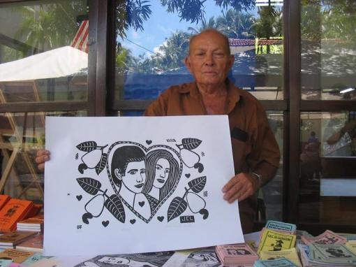 O cordelista e xilogravurista José Costa Leite e um dos seus trabalhos.